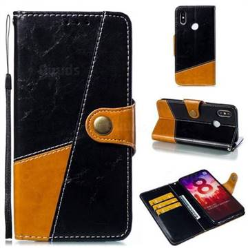 Retro Magnetic Stitching Wallet Flip Cover for Xiaomi Mi 8 - Black