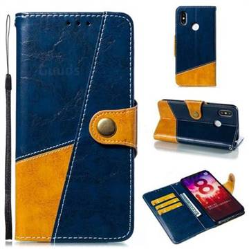 Retro Magnetic Stitching Wallet Flip Cover for Xiaomi Mi 8 - Blue
