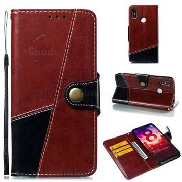 Retro Magnetic Stitching Wallet Flip Cover for Xiaomi Mi 8 - Dark Red