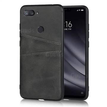 Simple Calf Card Slots Mobile Phone Back Cover for Xiaomi Mi 8 Lite / Mi 8 Youth / Mi 8X - Black