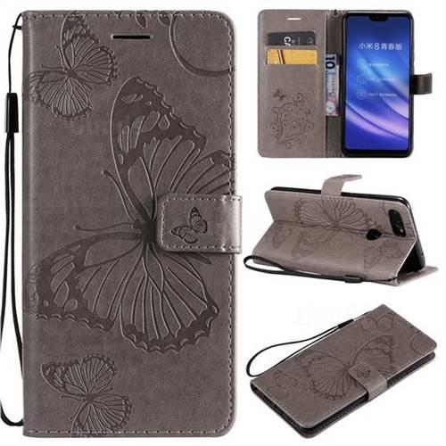 Embossing 3D Butterfly Leather Wallet Case for Xiaomi Mi 8 Lite / Mi 8 Youth / Mi 8X - Gray