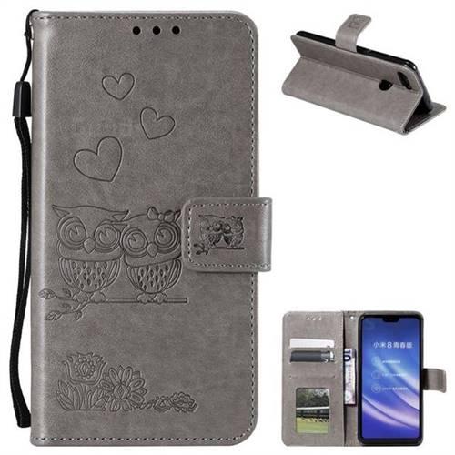 Embossing Owl Couple Flower Leather Wallet Case for Xiaomi Mi 8 Lite / Mi 8 Youth / Mi 8X - Gray