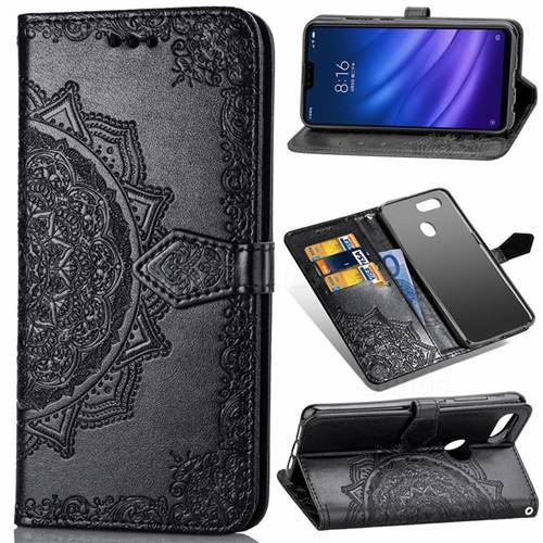 Embossing Imprint Mandala Flower Leather Wallet Case for Xiaomi Mi 8 Lite / Mi 8 Youth / Mi 8X - Black