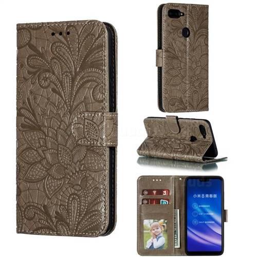 Intricate Embossing Lace Jasmine Flower Leather Wallet Case for Xiaomi Mi 8 Lite / Mi 8 Youth / Mi 8X - Gray