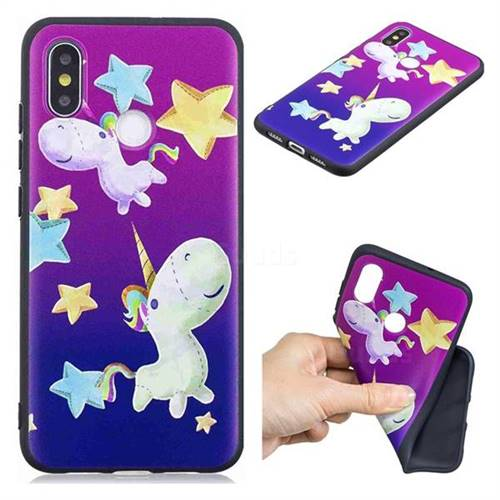 Pony 3D Embossed Relief Black TPU Cell Phone Back Cover for Xiaomi Mi 8 SE