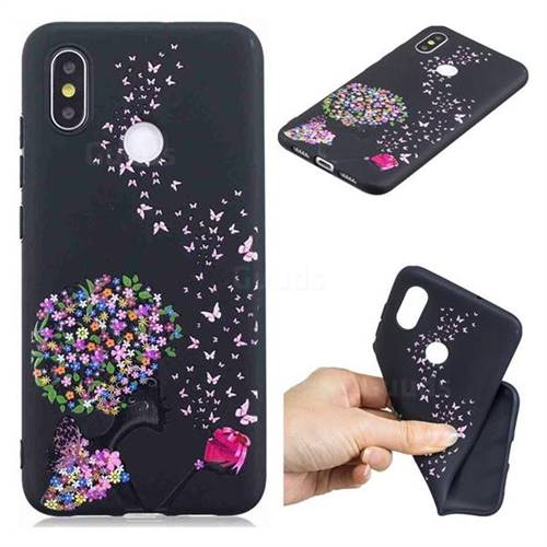 Corolla Girl 3D Embossed Relief Black TPU Cell Phone Back Cover for Xiaomi Mi 8 SE