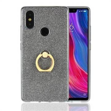 Luxury Soft TPU Glitter Back Ring Cover with 360 Rotate Finger Holder Buckle for Xiaomi Mi 8 SE - Black