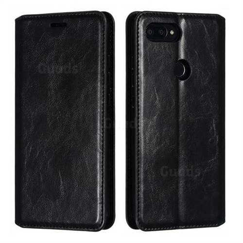 Retro Slim Magnetic Crazy Horse PU Leather Wallet Case for Xiaomi Mi 8 SE - Black