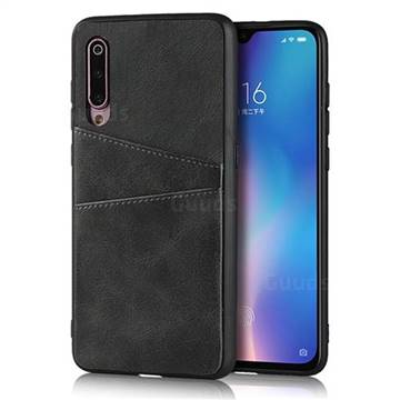 Simple Calf Card Slots Mobile Phone Back Cover for Xiaomi Mi 9 - Black