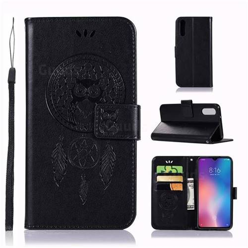 Intricate Embossing Owl Campanula Leather Wallet Case for Xiaomi Mi 9 - Black