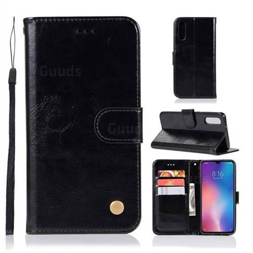 Luxury Retro Leather Wallet Case for Xiaomi Mi 9 - Black