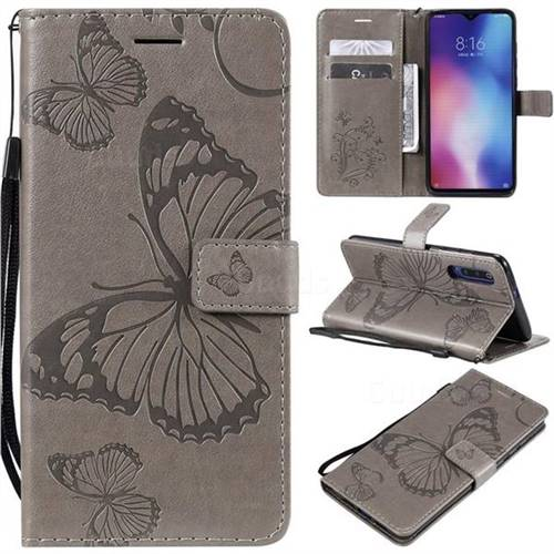 Embossing 3D Butterfly Leather Wallet Case for Xiaomi Mi 9 - Gray