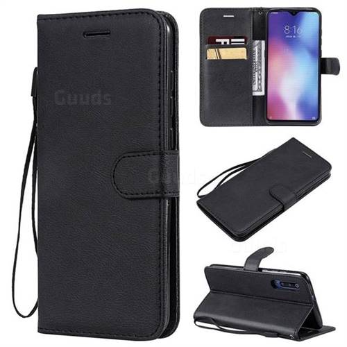 Retro Greek Classic Smooth PU Leather Wallet Phone Case for Xiaomi Mi 9 - Black