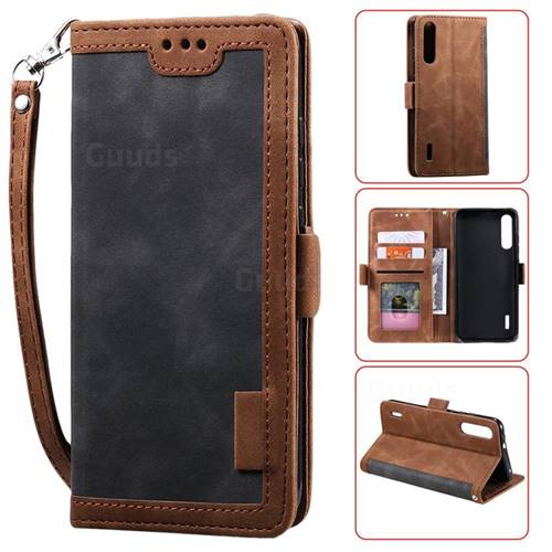Luxury Retro Stitching Leather Wallet Phone Case for Xiaomi Mi 9 Lite - Gray