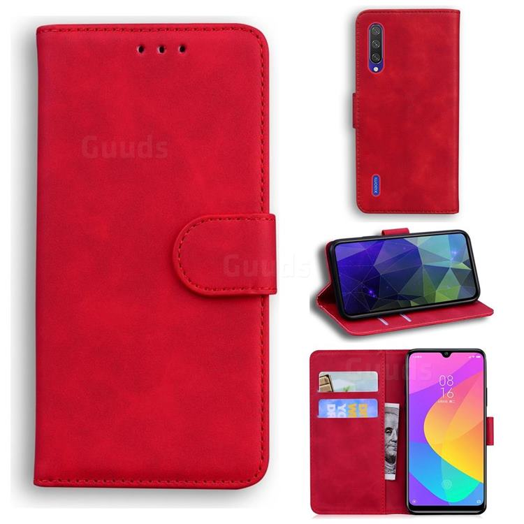 Retro Classic Skin Feel Leather Wallet Phone Case for Xiaomi Mi 9 Lite - Red