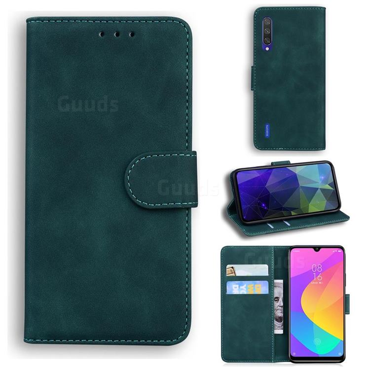 Retro Classic Skin Feel Leather Wallet Phone Case for Xiaomi Mi 9 Lite - Green