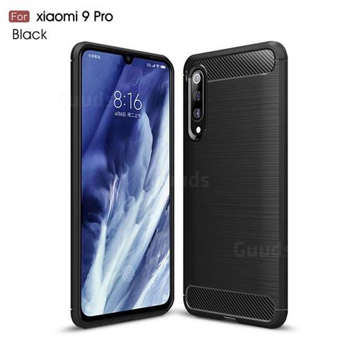 Luxury Carbon Fiber Brushed Wire Drawing Silicone TPU Back Cover for Xiaomi Mi 9 Pro - Black