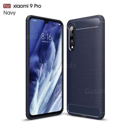 Luxury Carbon Fiber Brushed Wire Drawing Silicone TPU Back Cover for Xiaomi Mi 9 Pro - Navy