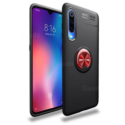 Auto Focus Invisible Ring Holder Soft Phone Case for Xiaomi Mi 9 Pro - Black Red