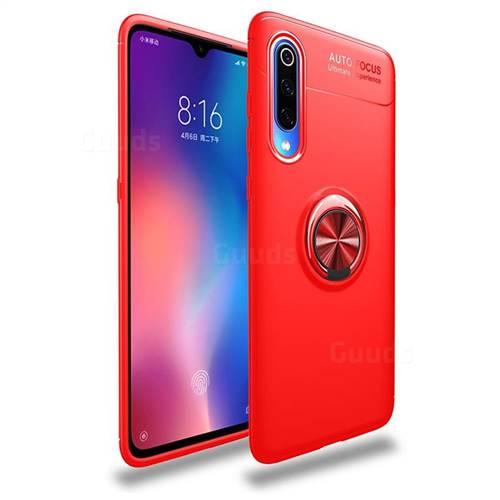 Auto Focus Invisible Ring Holder Soft Phone Case for Xiaomi Mi 9 Pro - Red