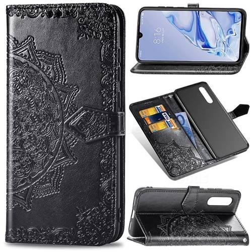 Embossing Imprint Mandala Flower Leather Wallet Case for Xiaomi Mi 9 Pro - Black