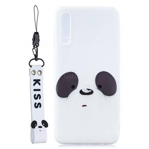 White Feather Panda Soft Kiss Candy Hand Strap Silicone Case for Xiaomi Mi 9 SE