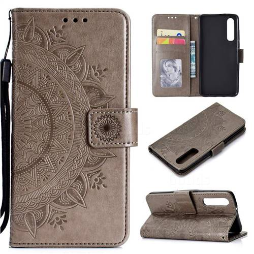 Intricate Embossing Datura Leather Wallet Case for Xiaomi Mi 9 SE - Gray