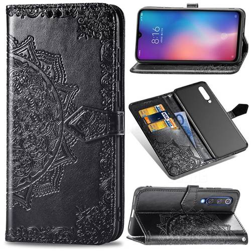 Embossing Imprint Mandala Flower Leather Wallet Case for Xiaomi Mi 9 SE - Black