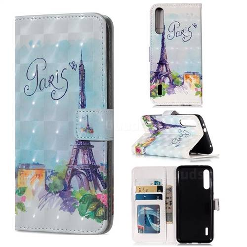 Paris Tower 3D Painted Leather Phone Wallet Case for Xiaomi Mi A3