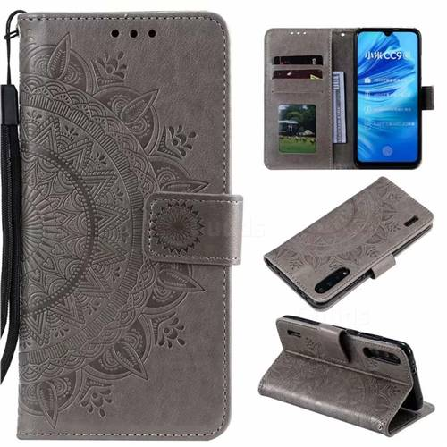 Intricate Embossing Datura Leather Wallet Case for Xiaomi Mi A3 - Gray