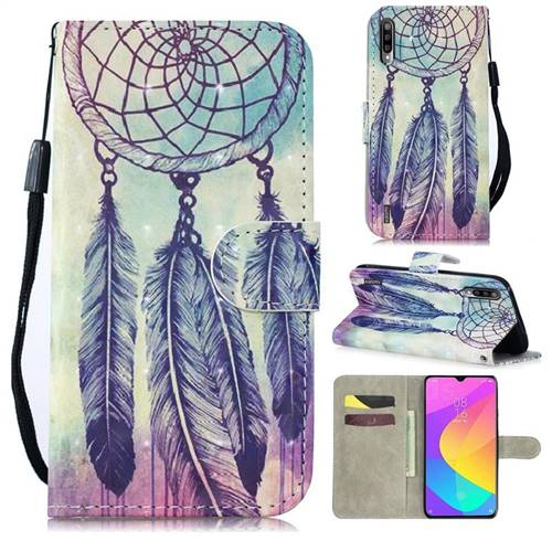Feather Wind Chimes 3D Painted Leather Wallet Phone Case for Xiaomi Mi A3