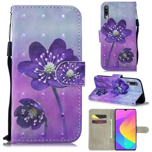 Purple Flower 3D Painted Leather Wallet Phone Case for Xiaomi Mi A3