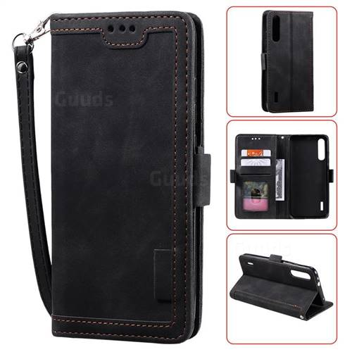 Luxury Retro Stitching Leather Wallet Phone Case for Xiaomi Mi A3 - Black