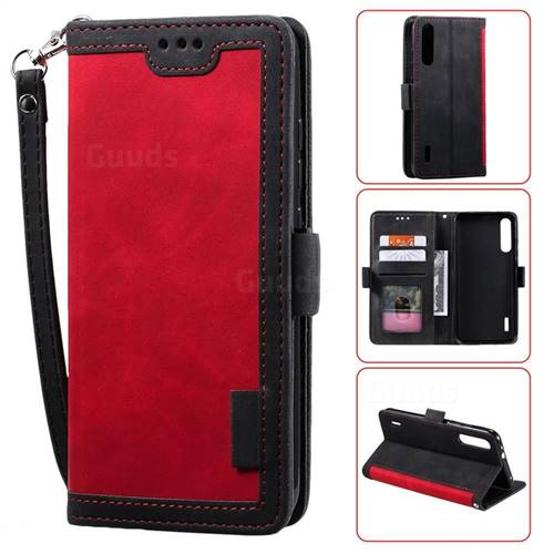 Luxury Retro Stitching Leather Wallet Phone Case for Xiaomi Mi A3 - Deep Red
