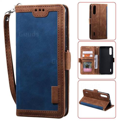 Luxury Retro Stitching Leather Wallet Phone Case for Xiaomi Mi A3 - Dark Blue
