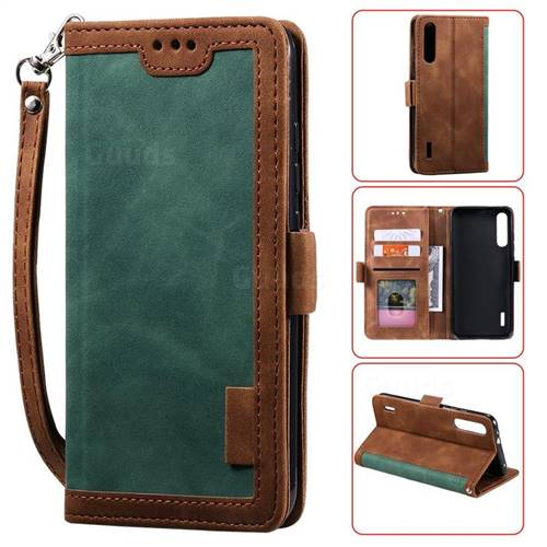 Luxury Retro Stitching Leather Wallet Phone Case for Xiaomi Mi A3 - Dark Green