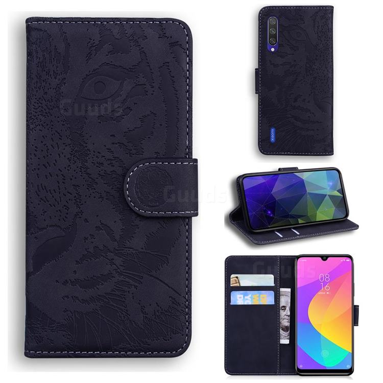 Intricate Embossing Tiger Face Leather Wallet Case for Xiaomi Mi A3 - Black