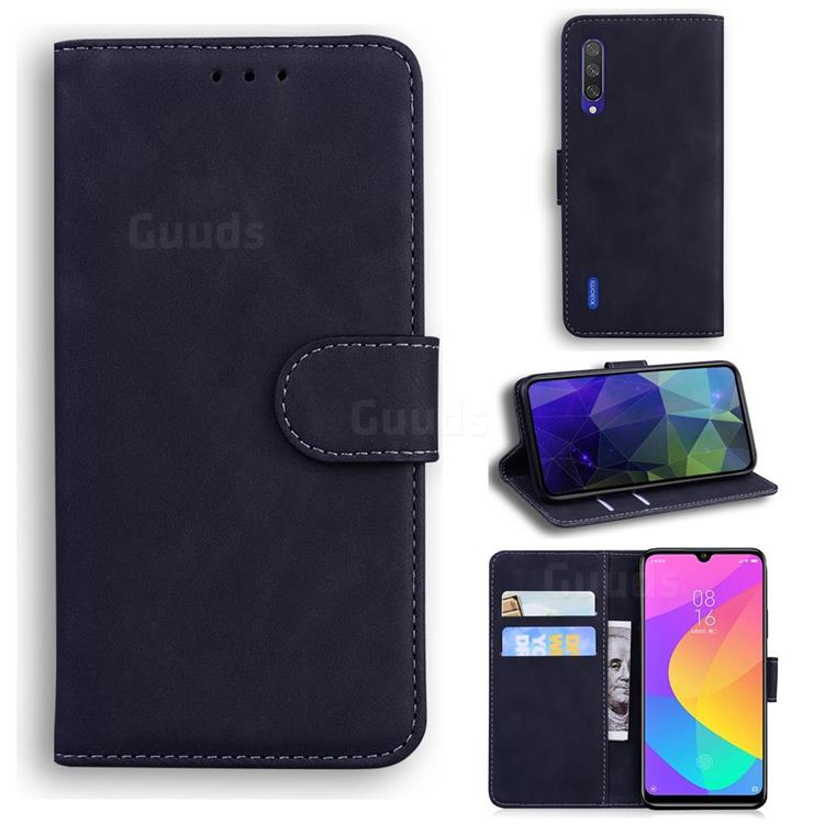 Retro Classic Skin Feel Leather Wallet Phone Case for Xiaomi Mi A3 - Black