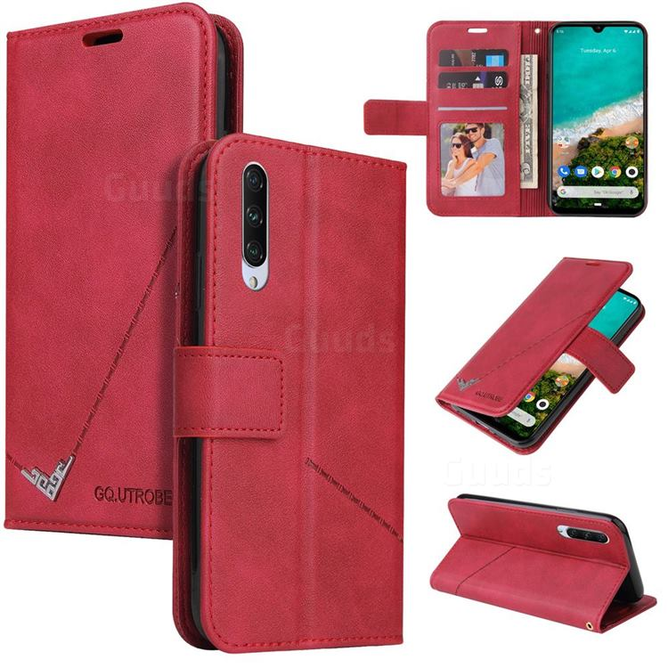 GQ.UTROBE Right Angle Silver Pendant Leather Wallet Phone Case for Xiaomi Mi A3 - Red