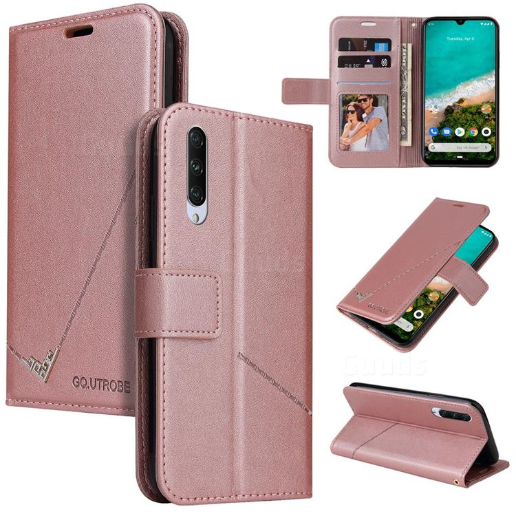 GQ.UTROBE Right Angle Silver Pendant Leather Wallet Phone Case for Xiaomi Mi A3 - Rose Gold