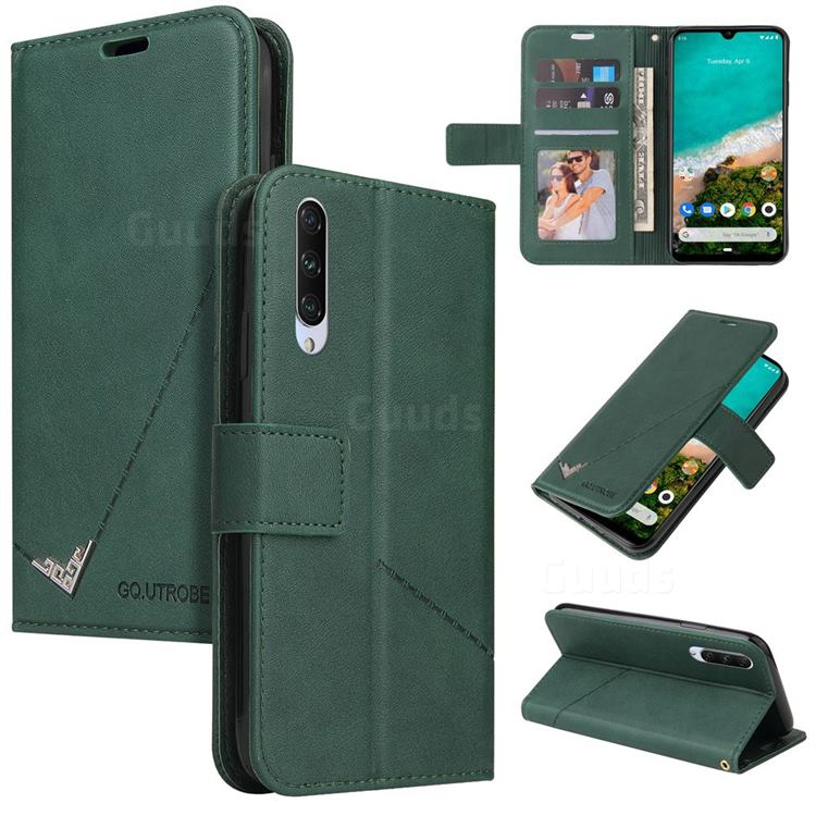 GQ.UTROBE Right Angle Silver Pendant Leather Wallet Phone Case for Xiaomi Mi A3 - Green