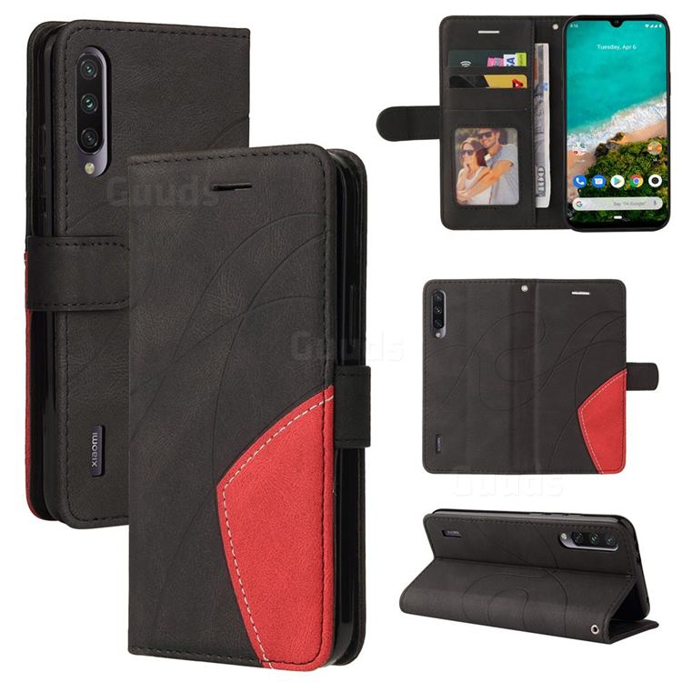 Luxury Two-color Stitching Leather Wallet Case Cover for Xiaomi Mi A3 - Black