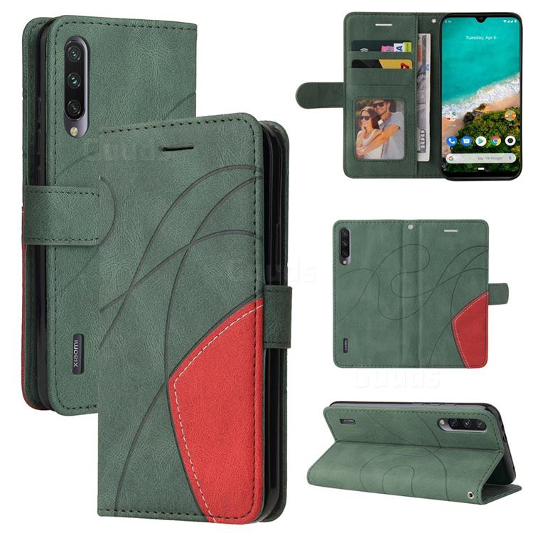 Luxury Two-color Stitching Leather Wallet Case Cover for Xiaomi Mi A3 - Green
