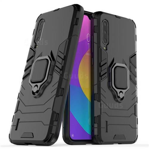 Black Panther Armor Metal Ring Grip Shockproof Dual Layer Rugged Hard Cover for Xiaomi Mi CC9 (Mi CC9mt Meitu Edition) - Black