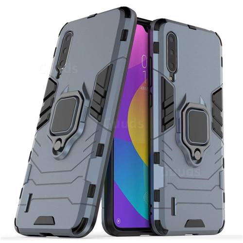 Black Panther Armor Metal Ring Grip Shockproof Dual Layer Rugged Hard Cover for Xiaomi Mi CC9 (Mi CC9mt Meitu Edition) - Blue