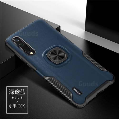 Knight Armor Anti Drop PC + Silicone Invisible Ring Holder Phone Cover for Xiaomi Mi CC9 (Mi CC9mt Meitu Edition) - Sapphire