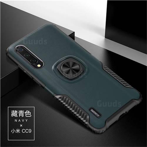 Knight Armor Anti Drop PC + Silicone Invisible Ring Holder Phone Cover for Xiaomi Mi CC9 (Mi CC9mt Meitu Edition) - Navy