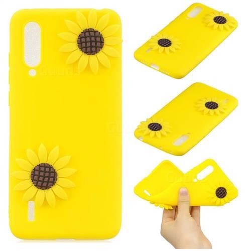 Yellow Sunflower Soft 3D Silicone Case for Xiaomi Mi CC9 (Mi CC9mt Meitu Edition)