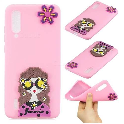 Violet Girl Soft 3D Silicone Case for Xiaomi Mi CC9 (Mi CC9mt Meitu Edition)
