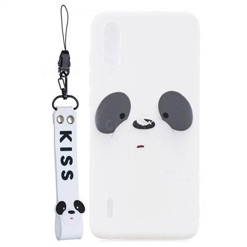 White Feather Panda Soft Kiss Candy Hand Strap Silicone Case for Xiaomi Mi CC9 (Mi CC9mt Meitu Edition)